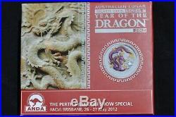 Australian Lunar Silver Coin Series II Year Of The Dragon 2012 & Coa Purple