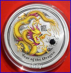 Australien 1 Dollar 2012 Silber 1 Oz Year of the Dragon Gold-Yellow #F 2508