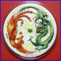 Australien 1 Dollar 2017 Dragon & Phoenix 1 oz #F3341 Colored gildet Nur 100