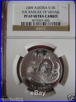 Austria 2009 Der Basilisk of Vien Silver. 925 Coin NGC pcgs PF69 Dragon Legends