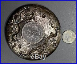 BU0122 China Dollar silver vintage coin ash tray double dragon hand made from r