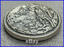 Baby Dragon vs. Vikings Ultra High Relief 5 oz. 999 Silver Round with Display Box