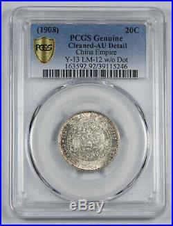 CHINA 1908 20 Cent Silver Dragon Coin PCGS AU LM-12 Y#13 Tientsin Central Mint