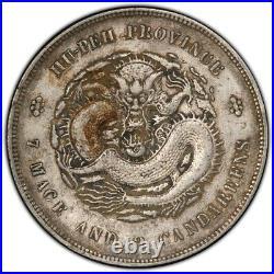 CHINA Empire Hupeh 1909-1911 $1 Silver Dragon Dollar Coin PCGS XF L&M-187 Y-131