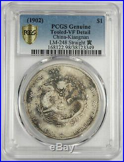 CHINA Kiangnan 1902 $1 Dollar Silver Dragon Coin PCGS VF L&M-248 Straight Yin
