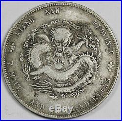 CHINA Kiangnan 1902 $1 Dollar Silver Dragon Coin XF L&M-247 Slanted Yin withChop
