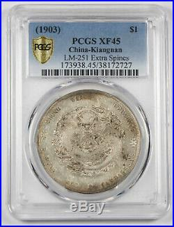CHINA Kiangnan 1903 $1 Dollar Silver Dragon Coin PCGS XF45 L&M-251 Extra Spines