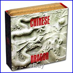 CHINESE DRAGON 2 oz Silver Coin Antiqued with Coral Niue 2018 COA and Box