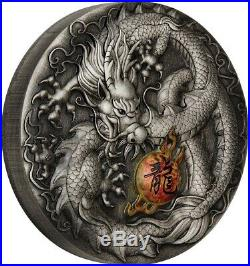 CHINESE DRAGON 5 Oz Colored Silver Coin 5$ Dollars Tuvalu 2019 Perth Mint