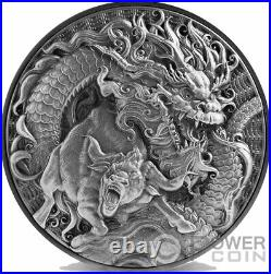 CHINESE DRAGON AND OX 2 Oz Silver Coin 10$ Tokelau 2021