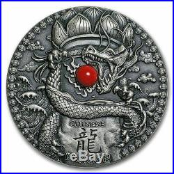 CHINESE DRAGON CORAL Ultra High Relief 2 Oz Silver Coin 2018 Niue $2