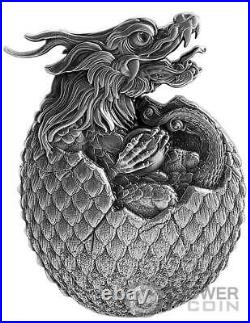 CHINESE DRAGON EGG Shape 2 Oz Silver Coin 10000 Francs Chad 2022