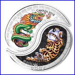 Canada 2 x 10 Dollar 2018 Yin und Yang Tiger und Dragon 2 x 1/2 Oz Silber PP