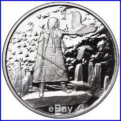 Celtic Lore Complete Set Of 5 1 Oz Silver Proof Coins Merlin-dragon-banshee-coa