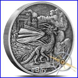 Celtic Lore Series The Red Dragon 5 oz. 999 Silver Antiqued Finish Round Coin