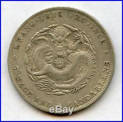 China 1909 Kwang-tung Province Dragon Dollar Silver Original Coin Choice Xf