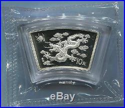 China 2000 Lunar Zodiac Dragon Year Fan-shaped Silver Coin 1 oz 10 Yuan UNC