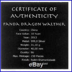 China 2013 Panda Dragon Wealth Rubin Diamond Gilded Colored 1oz Silver Coin RARE