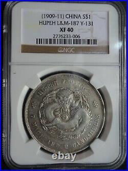China Dollar $1 Dragon Coin, Hupeh (1909 11) L&M-187 Y-131, NGC XF40