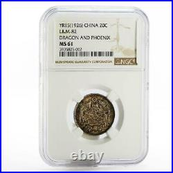 China Dragon and Phoenix 20 cents MS61 NGC LM-82 silver coin 1926