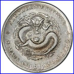 China Empire Szechuan 1901-08 $1 Dollar Silver Dragon Coin PCGS VF L&M-345 Y#238