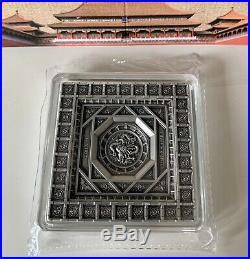 China FORBIDDEN CITY Dragon Caisson Ceiling Silver Coin 100 g Samoa 2020 Antique