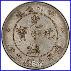 China Szechuan 1901-08 $1 Coin PCGS XF40 L&M-345 Y#238 Inverted A Pearl Dragon