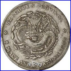 China Szechuan Silver Dragon Dollar 3 CANDAREENS type, RARE 1901-08, PCGS VF De