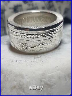 Coin Ring Fine Silver Angel and Dragon from 1 oz