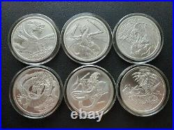 Complete Set! World Of Dragons All 6 Silver Rounds In Capsules Aztec Welsh Norse