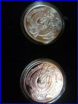 Complete Set of World of Dragons Silver & Copper 1oz Rounds in Custom Box