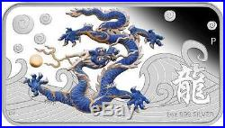 Cook Islands 2012 1$ Year of the Dragon Blue Proof 1 Oz Silver Coin VERY LIMITED