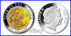 Cook Islands 2012 $50 LUNAR YEAR of DRAGON Mother Of Pearl 5oz Silver Coin