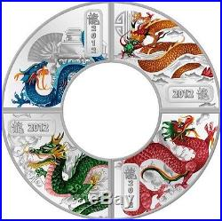 Cook Islands 2012 Lunar The Year of the Dragon 4 x1/2 Oz Silver Proof Coin Set