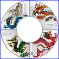 Cook Islands Lunar 2012 Year of the Dragon 4 x 1/2 Oz Silver Proof Coin Set