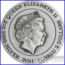 DOUBLE DRAGON AND YIN YANG KOI 2 Oz Silver Coin 2$ Tuvalu 2021
