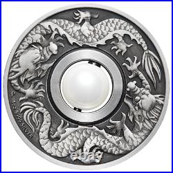 DRAGON AND PEARL 2017 1oz Silver $1 COIN MS 69 ANTIQUED FR
