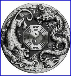 DRAGON AND TIGER 2 Oz Silver Coin 2$ Tuvalu 2021