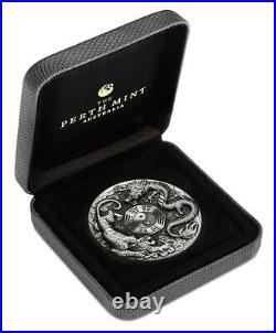 DRAGON AND TIGER 2021 2 oz Antiqued Silver Coin Tuvalu Perth Mint