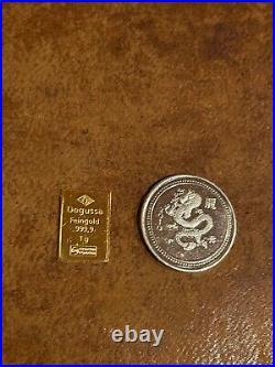 Degussa. 999 Gold Bar 1g & 1g 999 Silver Dragon Coin Rare Nice