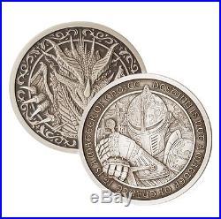 Destiny Knight The Dragon 2 oz. 999 Silver Antiqued Finish Round USA Coin