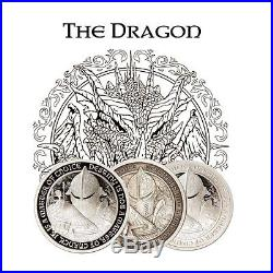 Destiny Knight The Dragon Silver 3 Coin Collectors Set BU, Proof & Antiqued