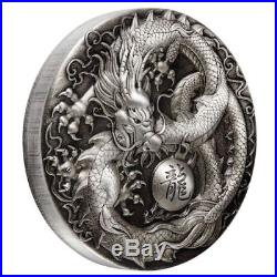 Dragon 2018 5oz Silver Antiqued Coin The Perth Mint Limited Mintage 500