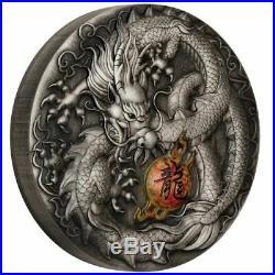 Dragon 2019 5 Oz Pure Silver Antiqued Colored Coin Perth Mint Tuvalu