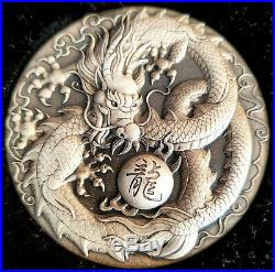 Dragon 5 Oz Tuvalu 2018 The Perth Mint Silver Coin + Box Mintage Only 500