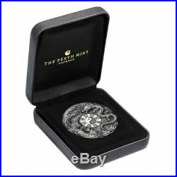Dragon And Phoenix 2019 2 Oz High Relief Antiqued Silver Coin Tuvalu Perth