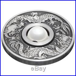 Dragon and Pearl 2017 1oz Silver Antiqued Perth Mint $2 Tuvalu Coin