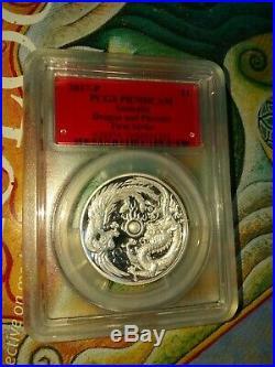 Dragon and Phoenix 2017 2oz High Relief Gold PR70DCAM 3 coin set