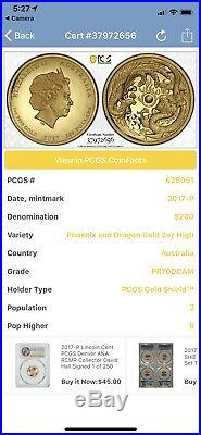 Dragon and Phoenix 2017 2oz High Relief Gold Proof Coin Graded Perfect PR70DCAM