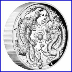 Dragon and Tiger 2018 2oz Silver Proof High Relief Coin Perth Mint